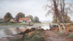 """https://www.facebook.com/MiaFeigelson """"River scene"""" By Creswick Boydell, British Artist (1889 - 1916) - watercolor; 39.5 x 19.5 in - © Baron Fine Art, Chester, Cheshire, UK http://www.baronfineart.com/ https://www.facebook.com/baronfineart"""