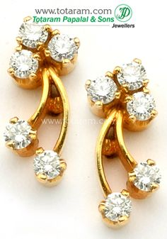 Diamond Earrings For Women In 18k Gold Der266 Indian Jewelry From Totaram Jewelers
