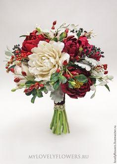 Купить Зимний букет невесты с цветами из полимерной глины - букет невесты, букет невесты из глины