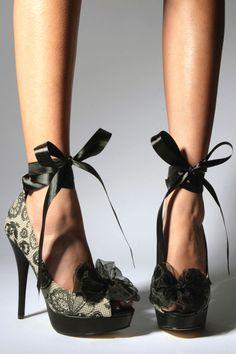 Iron Fist Lovelace Platform Stiletto Black Beige Peep Toe Lace Bow Heels New