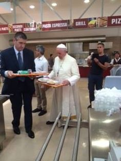A very humble Pope! Pope Francis shows up at the Vatican canteen to get his lunch!