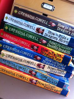 "The ""How to Train Your Dragon"" books by Cressida Cowell. Humor and adventure among vikings and dragons."