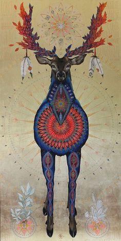animal totem – I am the Stag God by Caroline Manière Art And Illustration, Illustrations, Deer Art, Moose Art, Spirit Art, Art Visionnaire, Power Animal, Goddess Art, Inspiration Art