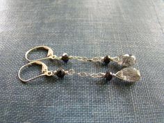 Rutilated Quartz & Onyx Earrings by rootielicious on Etsy, $40.00