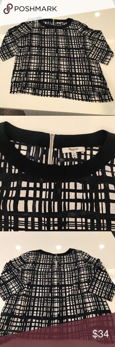 Madewell Silk Graphic Print Blouse size Medium Super cute, boxy cut silk blouse with back zip by Madewell size Medium. Excellent, pre-worn condition. Madewell Tops Blouses