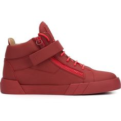 Giuseppe Zanotti Design 'The Shark' hi-top sneakers (963.270 COP) ❤ liked on Polyvore featuring men's fashion, men's shoes, men's sneakers, red, mens leather high top shoes, mens leather sneakers, mens velcro strap shoes, mens red high top sneakers and mens velcro strap sneakers