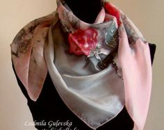 Natural silk hand painted scarf red black brown by Studijakalla