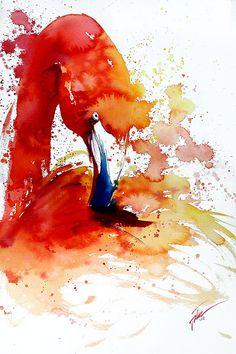 Flamingo acuarela A4 A3 impresión de arte por tilentiart en Etsy