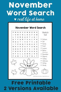 Free November Word Search Printable for Kids - perfect for class, fall, and Thanksgiving parties. This printable includes November search terms and phrases. Printable Activities For Kids, Free Printable Worksheets, Worksheets For Kids, Free Printables, Elderly Activities, Speech Activities, Preschool Activities, Thanksgiving Word Search, Thanksgiving Words