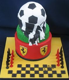 Blissfully Sweet: A Ferrari Soccer Birthday Cake Soccer Birthday Cakes, Birthday Cake Kids Boys, 18th Birthday Cake, Soccer Cakes, Football Cakes, Birthday Ideas, Birthday Parties, Ferrari Cake, Sport Cakes