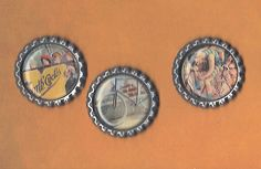 Graphic45 GOOD OL' SPORT #104 (3) Antique Silver Flat Bottle Cap Accents CYCLING