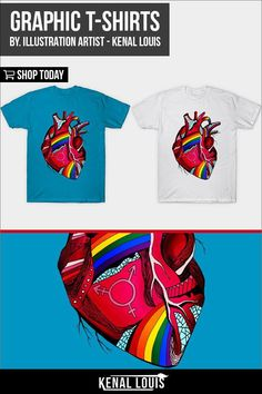 Beautiful and creative graphic tees collection. Unique graphic t-shirts created by Kenal Louis. Kenal Louis T-Shirts. Custom T-shirts by Artist Kenal Louis. Prices starting at $20. Follow Kenal Louis On Teepublic to know when shirts are on  sale for $13 - $15. Life Magazine, Tees Graphiques, Heart Awareness Month, Mystery, Gay Pride Shirts, Sell My Art, Heart Illustration, Cool Graphic Tees, Branding