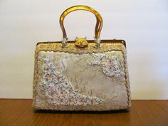 Easter Basket Purse Embroidered Beaded Lucite by MamabirdsVintage