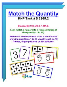 """Match the Quantity"" - I can match a numeral to a representation of the quantity (1 to 10). Supports learning common core standards: 0-K.CC.3, 1.OA.6. [KNP Task # S 2265.2]"