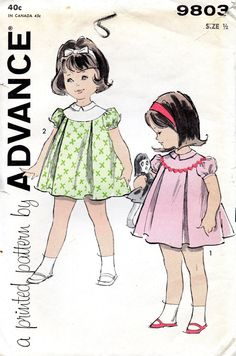 vintage 1960s TODDLERS dress advance sewing pattern 9803 size 1/2  yoke PLEATED puff sleeves 6 MOS baby uncut
