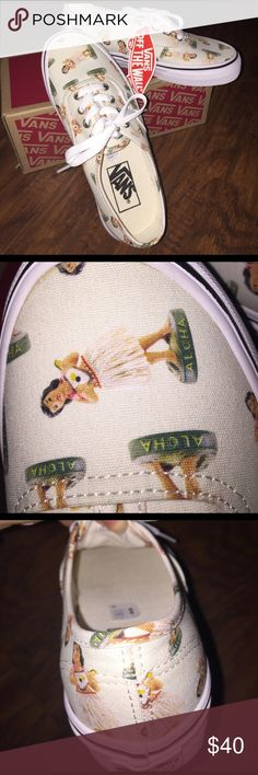 Digi Hula Classic Vans Adorable vans BRAND NEW NEVER WORN!!! Has cute hula dolls all over them with an eggshell background Vans Shoes Sneakers
