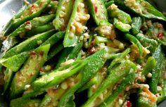 Okra with chilli Okra Recipes, Green Beans, Vegetables, Food, Essen, Vegetable Recipes, Meals, Yemek, Veggies