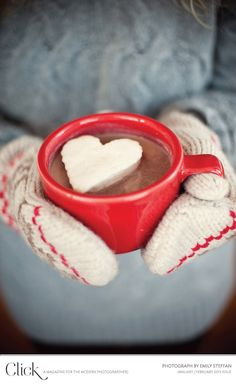 Cosy hot chocolate with heart marshmallow