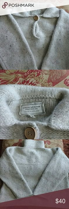 Irish Sweater by Justin Murphy Knitwear Gorgeous Wool Sweater.   Made in Ireland by Justin Murphy Knitwear. Wooden button at collar. Women's Small. From a smoke and pet-free location. Machine or hand washable. Justin Murphy Knitwear   Sweaters V-Necks