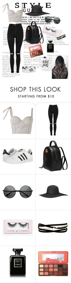 """Go out with bff"" by wendyfashion on Polyvore featuring Rosie Assoulin, Topshop, adidas, Gucci, Boohoo, Kenneth Jay Lane, Chanel, Too Faced Cosmetics and Casetify"