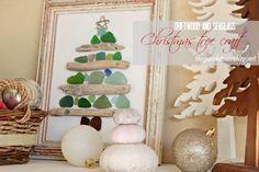 beautiful sea glass and driftwood Christmas tree craft