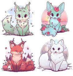 Cute Kawaii Animals, Cute Animal Drawings Kawaii, Kawaii Art, Cute Baby Animals, Kawaii Chibi, Cute Fox Drawing, Fox Cartoon Drawing, Cute Animals To Draw, Cute Drawings Of Animals