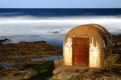 The historic pumphouse adjacent to the Newcastle ocean baths, basking in the afternoon sun. NSW Australia.