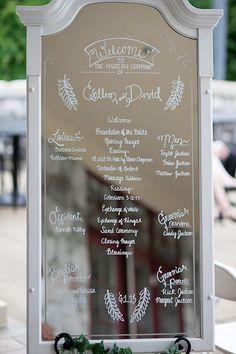 mirror wedding program sign.