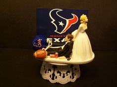 HOUSTON TEXANS Football Wedding Cake Topper Bride and Groom sports Funny on Etsy, $69.99