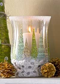 Decoupage - Winter Wonderland Candleholder with Fake Snow