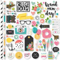 Simple Stories - Carpe Diem Collection - 12 x 12 Cardstock Stickers - Fundamentals