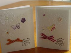 Birthday card-embossed-handmade set of 2 greeting by ihunt on Etsy