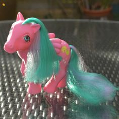 Vintage My Little Pony 'Wave Runner' Pink Pegasus Wing by TeaJay, Vintage  Toy  Animal  Colour Change  SunShine  my little pony  g1  MLP  Beach  1984  Yellow  Pink  Pegasus Wings  Wave Runner  Seahorse