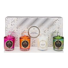 4 VOTIVE HOLIDAY GIFTSET WITH GLASS LIDS