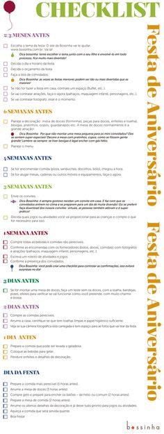 Checklist para organização de aniversário Mais