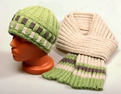 Hat Beanie Cap and scarf Knitted set Winter mens womens unisex cap and scarf by YarnAndBeadsDesign on Etsy