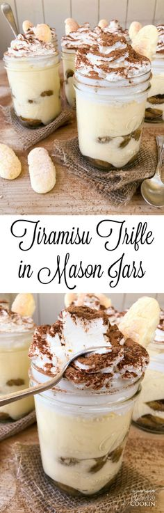 This Mason Jar Tiramisu Trifle is a new take the classic tiramisu dessert. There is plenty to go around as this recipe makes 6 pint-sized mason jars filled with delicious tiramisu dessert, yet only requires 10 ingredients. With 2 layers of delicious, espr Mason Jar Pies, Mason Jar Desserts, Mason Jar Meals, Meals In A Jar, Mason Jar Recipes, Mini Desserts, Köstliche Desserts, Dessert Recipes, Plated Desserts