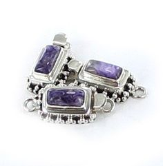 CHAROITE CLASP STERLING SILVER GRANULATED RECTANGLE from New World Gems