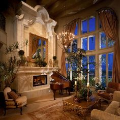 Fabulous living by Karen Butera Design Inc. Now THAT is a fireplace!