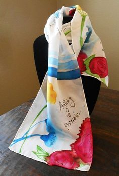 """Hand-Painted Silk Scarf: Inspirational Quotes with Wildflowers """"Anything is Possible"""" on white silk, Unique Gift, Long Silk Scarf Painted Silk, Hand Painted, Fabric Envelope, Silk Art, Fabric Gifts, Scarf Design, Fabric Painting, Saree Painting, White Silk"""