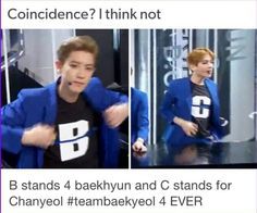 "Lol you know you're in deep when you try to find clues on irrelevant things to make your ships come true xD btw these letters stand for ""CALL ME BABY""<<< shhhh dont ruin the baekyeol Exo Chanbaek, Baekhyun Chanyeol, Kdrama Memes, Exo Memes, 5 Years With Exo, Exo Facts, Xiuchen, K Idols, Fangirl"