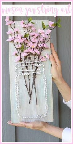 how to make your own mason jar string art - fun spring craft project idea!! - - Sugar Bee Crafts