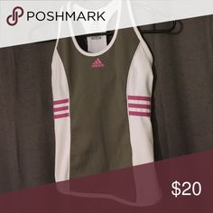 Active Wear (top) Gray and white razorback tank with pink accents. Size XS-S. 90% polyester, 10% spandex. Adidas Tops Tank Tops