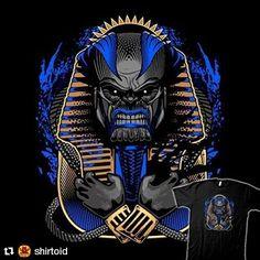 "#Repost @shirtoid with @repostapp  ""Apoc-Tut"" by @jimiyodotcom is $11 today (link in our profile)  #apocalypse #comic #comics #egyptian #film #jimiyo #marvelcomics #movie #pharaoh #supervillain"