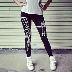 Fashion Slim Women's gun Casual Print pants Pencil Fit Running leggings gym Print Sports