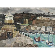 """artwork: Christopher Wood - """"Salisbury, St Ives, Cornwall"""", 1928 - Oil on board - x cm. - On view at the British Art Fair from September to at the Royal College of Art. Seascape Paintings, Landscape Paintings, Landscapes, St Ives Cornwall, West Cornwall, Wood Painting Art, Royal College Of Art, Art Fair, Artist At Work"""