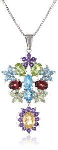 """Sterling Silver Multi-Gemstone Pendant Necklace, 18"""" available at joyfulcrown.com"""