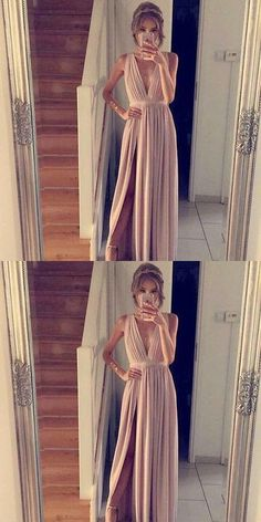 Charming Prom Dress,Sleeveless Long Prom Gown,Sexy Prom Dresses,Long Split Side Evening Dress #slitpromdress #longprom #Vneckpromgown#
