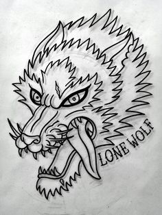 Traditional wolf tattoo flash, done by me :)