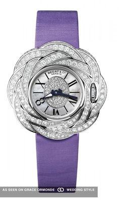 bedat and co diamond bezel womens purple watch